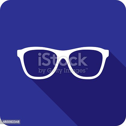 Vector illustration of a blue glasses icon in flat style.