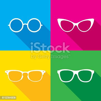 Vector illustration of a glasses icon set in flat style.
