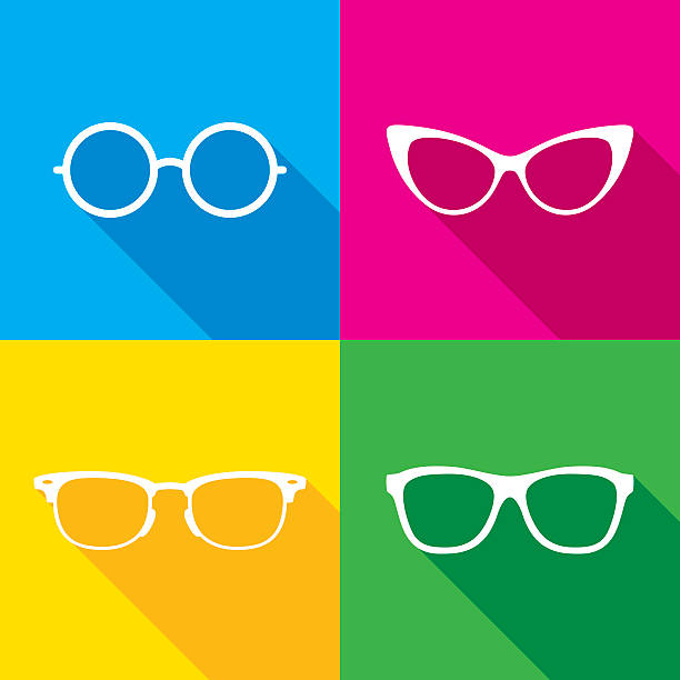 glasses icon silhouettes set - okulary stock illustrations