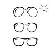 glasses icon in brush strokes style.