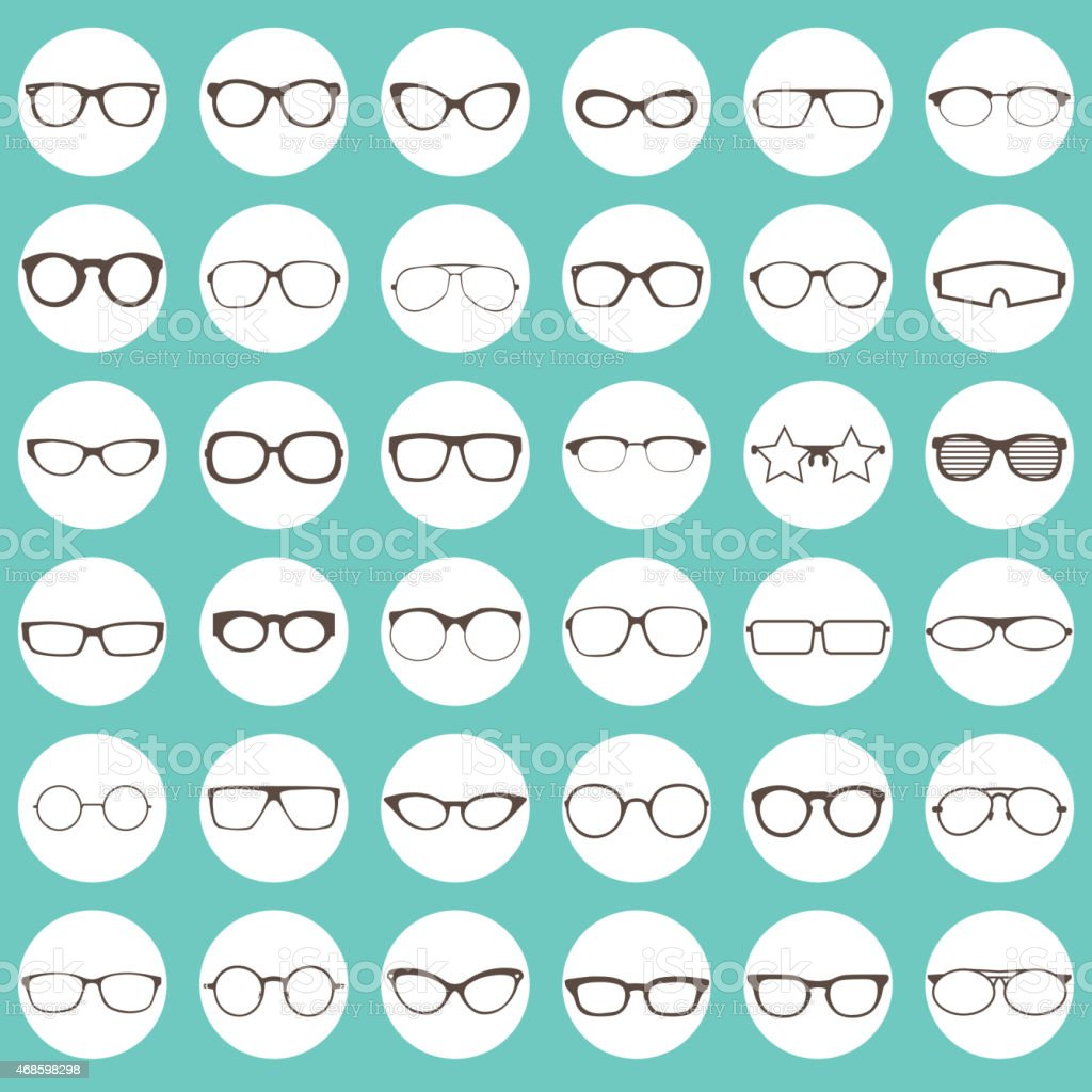 glasses icons vector art illustration