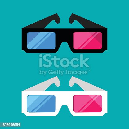 istock 3D glasses isolated on a colored background 628996554