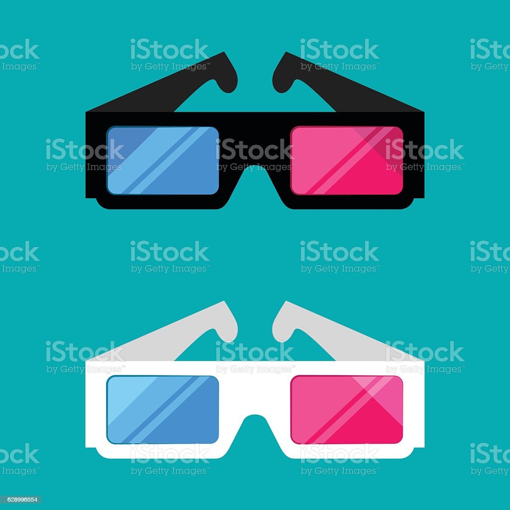 3D glasses isolated on a colored background - Illustration vectorielle