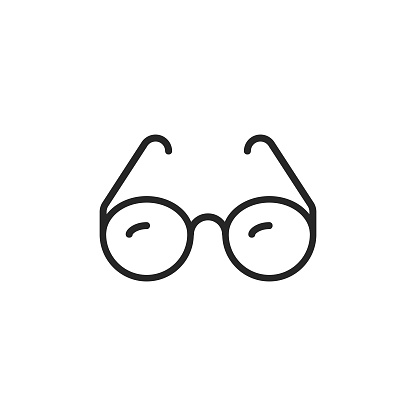 Glasses Line Icon with Editable Stroke.