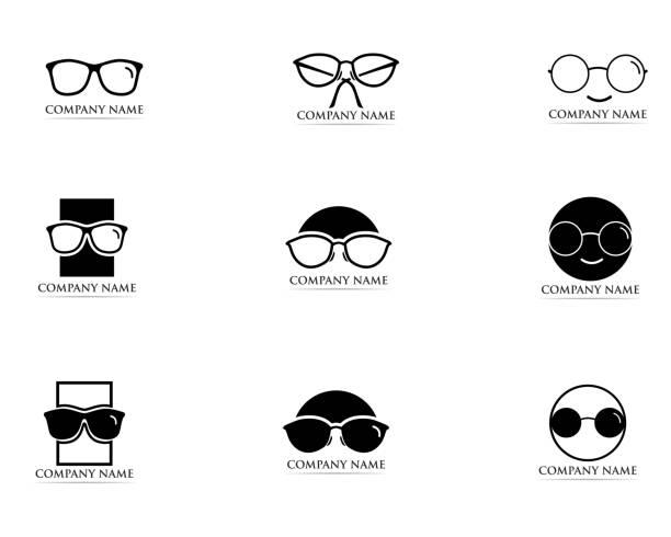 gläser-logo und symbol-vektor - uncool stock-grafiken, -clipart, -cartoons und -symbole