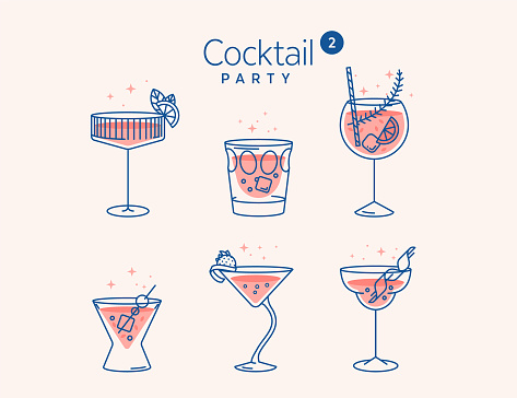 CCOCKTAIL glasses minimal vector thin line illustration. Six refreshing cocktails with ice cubes and lemons. Party in the club. Created for menu designs. Set of alcoholic drinks like Mojito or Martini