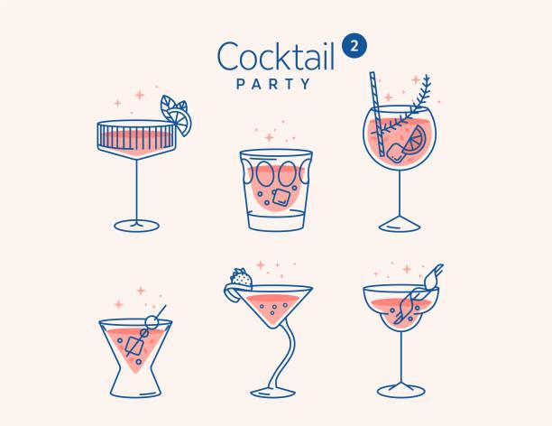 stockillustraties, clipart, cartoons en iconen met ccocktail glazen minimale vector dunne lijn illustratie. zes verfrissende cocktails met ijsblokjes en citroenen. feest in de club. gemaakt voor menuontwerpen. reeks alcoholische dranken zoals mojito of martini - gin tonic
