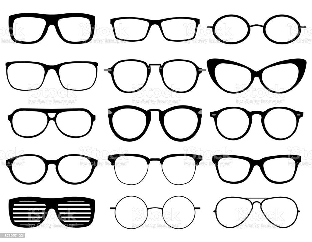 Glasses model icons, man, women frames. Sunglasses, eyeglasses black silhouettes isolated on white.