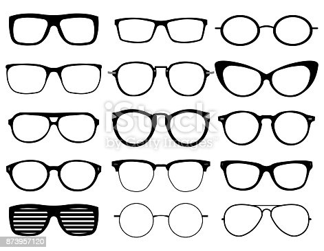 Glasses model icons, man, women frames. Sunglasses, eyeglasses black silhouettes isolated on white. Different shapes, frame, styles. Vector illustration on white background. EPS