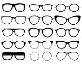 Glasses model icons, man, women frames. Sunglasses, eyeglasses black silhouettes isolated on white.