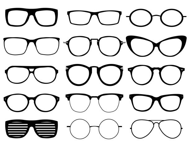 glasses model icons, man, women frames. sunglasses, eyeglasses black silhouettes isolated on white. - okulary stock illustrations