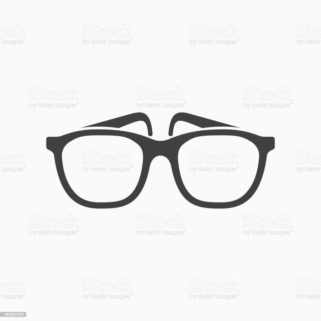 Glasses monochrome icon. Vector illustration. - Royalty-free Black And White stock vector