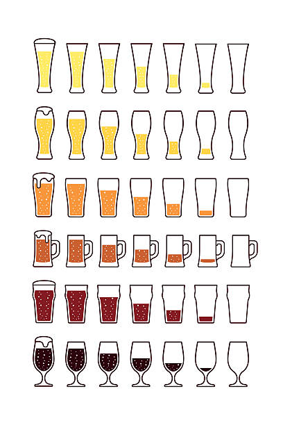 Glasses of beer with bubbles: empty, half, full. Vector – Vektorgrafik