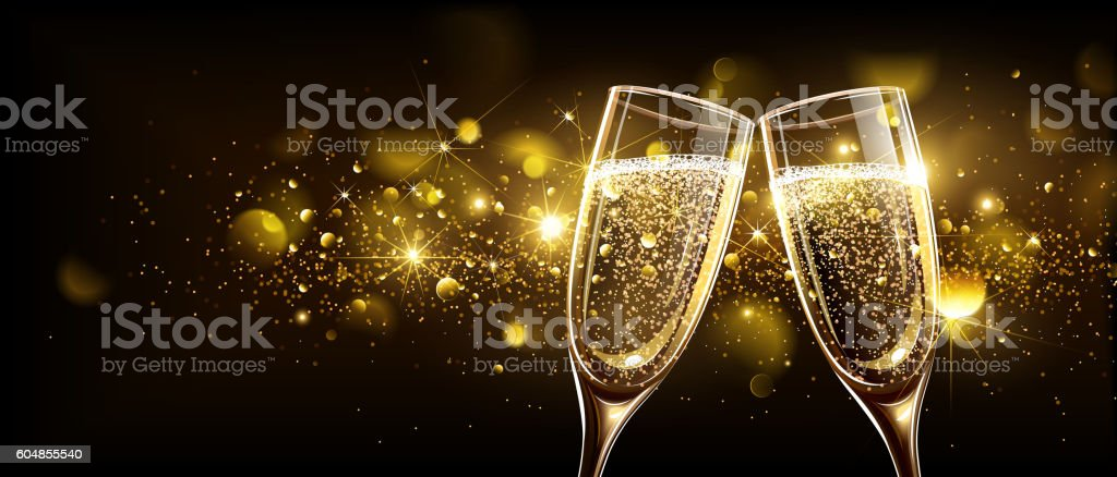 Glasses of champagne with bokeh effect vector art illustration