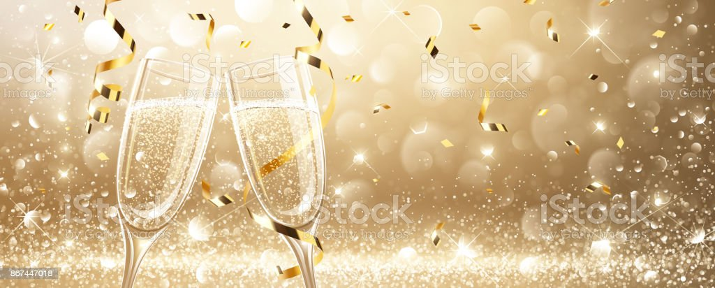 Glasses of champagne with confetti - illustrazione arte vettoriale