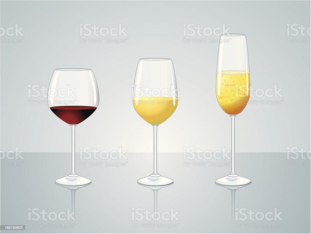Glasses of wine vector art illustration