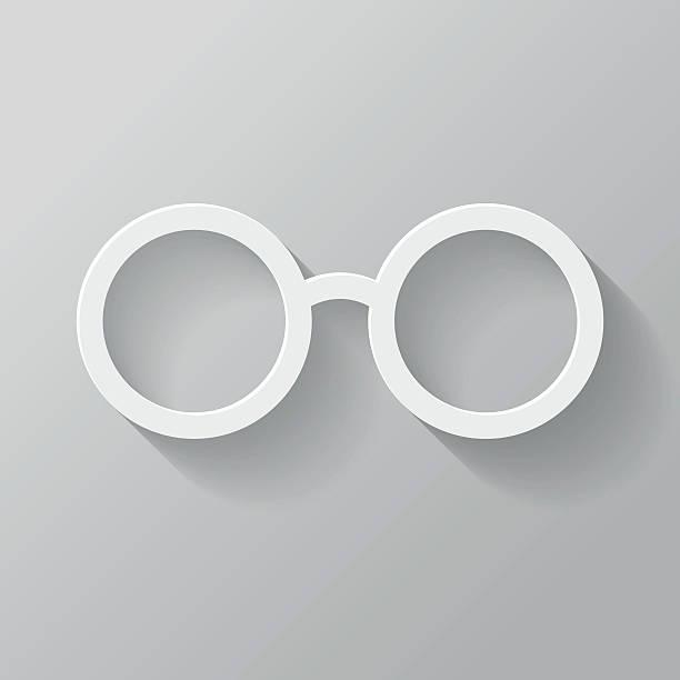 Brille Papier dünne Linie-Icon mit langen Schatten Interface – Vektorgrafik