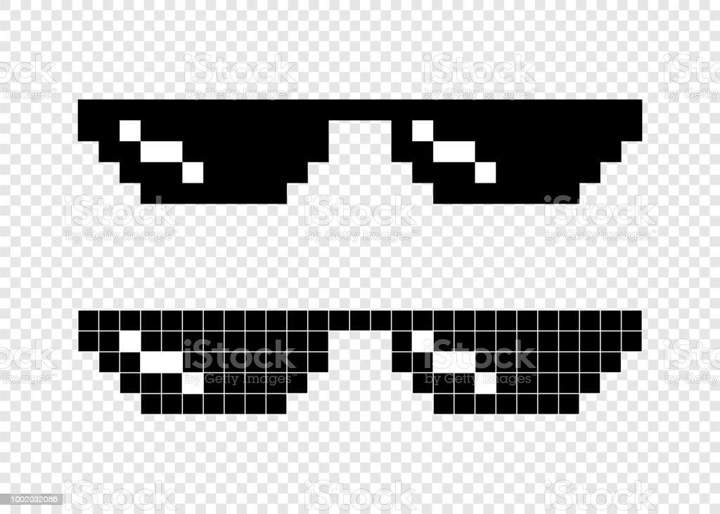 メガネ ピクセル 8 ビット透明な背景に ベクターアートイラスト