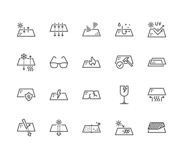 안경 속성 플랫 라인 아이콘을 설정합니다. 유리 기능-열 반사, 자외선 보호, 눈부심, 투명도, 깨지기 쉬운 벡터 일러스트 레이 션. 얇은 포장 표시. 픽셀 완벽 64 x 64. 편집 가능한 선 - 유리잔 stock illustrations