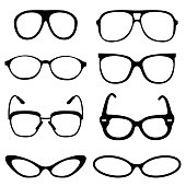 Glasses set on set background. Vector illustration