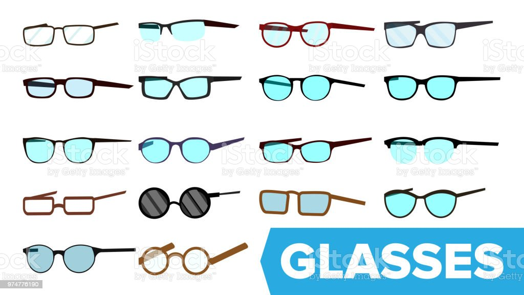 Glasses Set Vector Modern Glasses Icon Different Eyewear Types ...