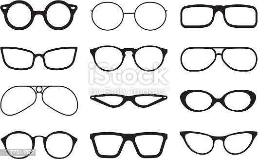 Glasses silhouette. Fashioned stylish accessories protecting summer sunlight aviation lens of reflective glasses vector collection. Eyeglasses lens silhouette accessory collection illustration