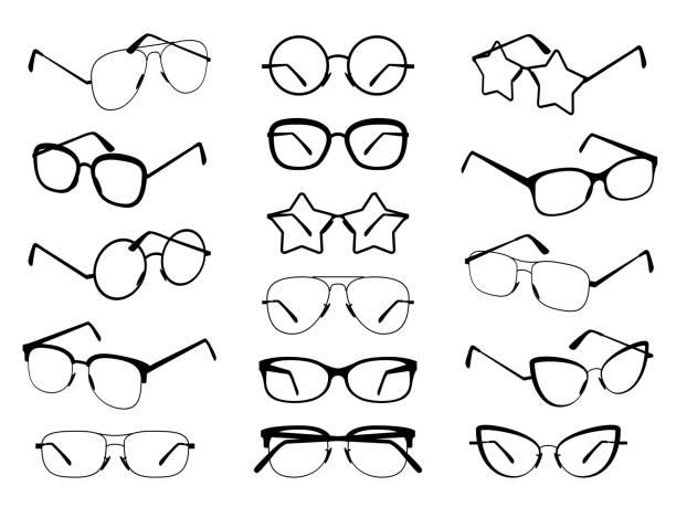 brille silhouette. verschiedene brillenrahmen für männer und frauen modische sonnenbrillen. optische vision gläser verschiedener formen vektor-set - brille stock-grafiken, -clipart, -cartoons und -symbole