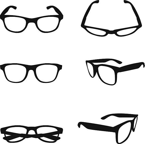 brille silhouette - brille stock-grafiken, -clipart, -cartoons und -symbole