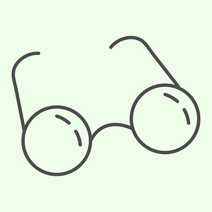 Glasses thin line icon. Round retro eyeglasses outline style pictogram on white background. Optical spectacles for education, studying and reading for mobile concept and web design. Vector graphics