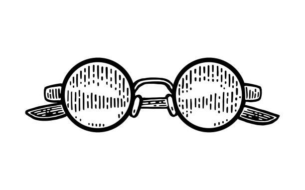 stockillustraties, clipart, cartoons en iconen met bril. vector zwart vintage gravure - antiek toestand