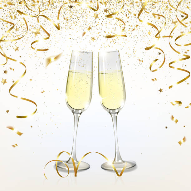 illustrazioni stock, clip art, cartoni animati e icone di tendenza di glasses with champagne and golden confetti - aperitivo