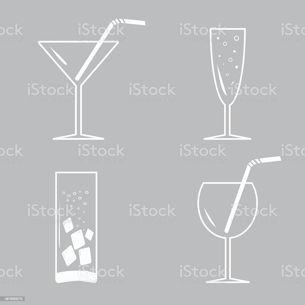 Occhiali con un cocktail.  White icon set. - illustrazione arte vettoriale