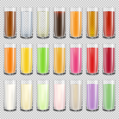 Glasses with different drinks set