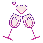 istock Glasses with hearts flat icon. Clinking romance champagne glasses illustration isolated on white. Two Wine Glasses with Love Hearts gradient style design, designed for web and app. Eps 10. 1201409478