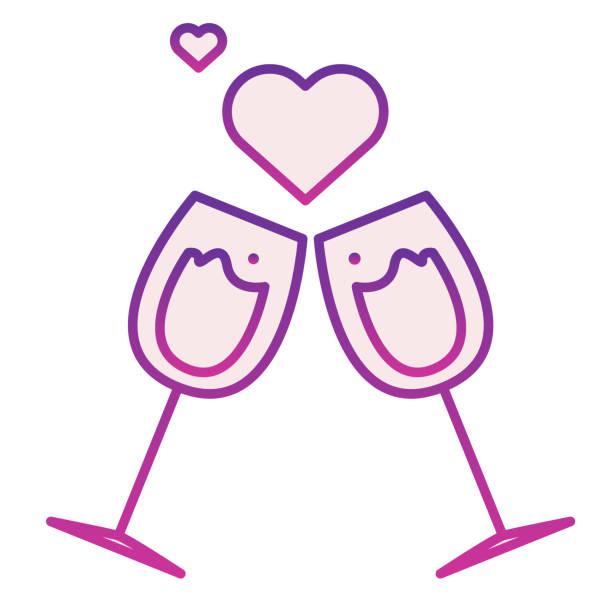 stockillustraties, clipart, cartoons en iconen met glazen met harten vlak pictogram. clinking romaanse champagneglazenillustratie die op wit wordt geïsoleerd. twee wijnglazen met love hearts gradiënt stijl ontwerp, ontworpen voor web en app. eps 10. - flirten