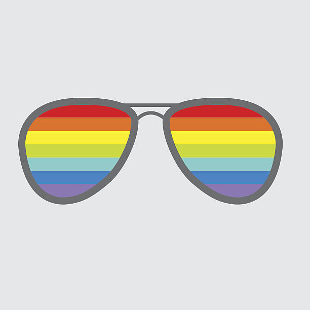 glasses with rainbow lenses. isolated icon. - old man sunglasses stock illustrations, clip art, cartoons, & icons