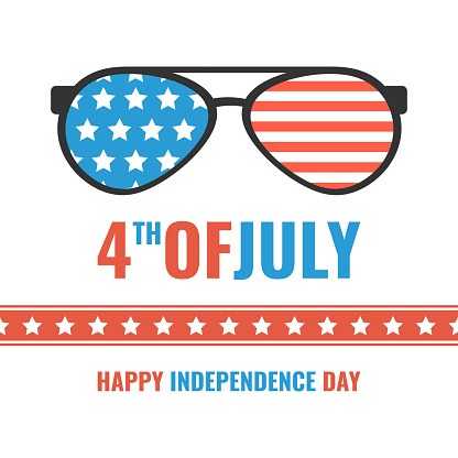 Glasses with stars and strips. Happy independence day United states of America. 4th of July. Vector illustration.