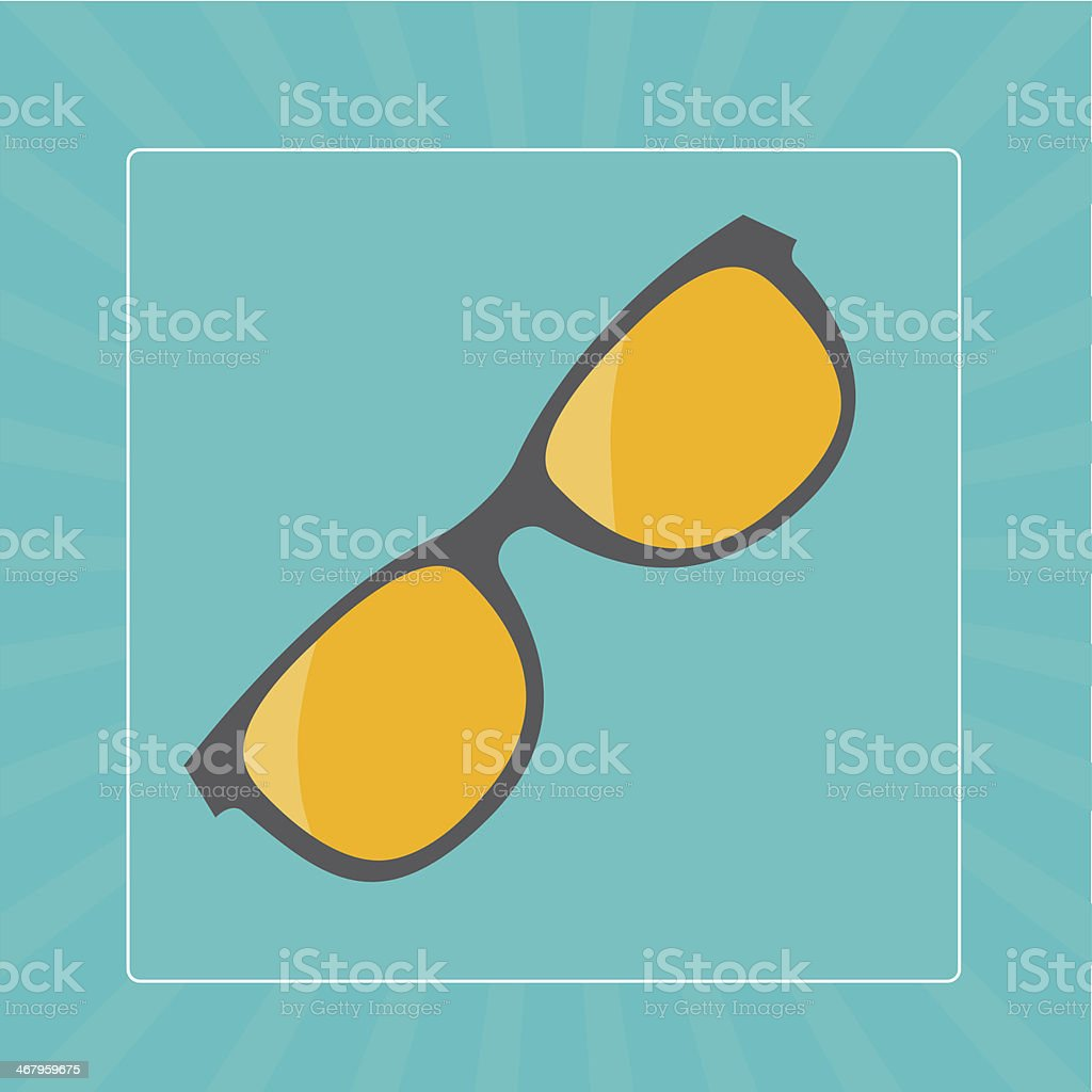 Glasses with yellow lens icon. Sunburst background. royalty-free stock vector art