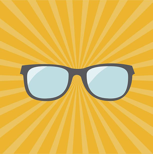 glasses. yellow sunburst background. - old man funny pictures stock illustrations