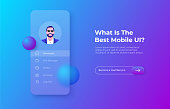 istock Glassmorphism mobile app concept with 3d geometric shapes. Frosted glass effect. Illustration on blurred gradient vector background 1326041002
