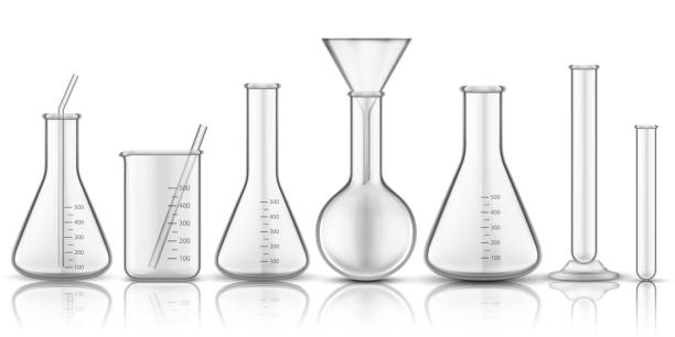 Glassware beaker or measuring glass. Set of isolated chemistry flask or biology test-tube, science tube for liquid. Biology reaction research. Pharmacology and medicine, education technology theme Glassware beaker or measuring glass. Set of isolated chemistry flask or biology test-tube, science tube for liquid. Biology reaction research. Pharmacology and medicine, education technology theme laboratory glassware stock illustrations