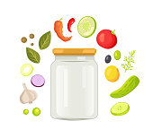 Glass jar with screw-cap for preserve and homemade conservation. Empty container vector illustration with green vegetable and spicery frame around.