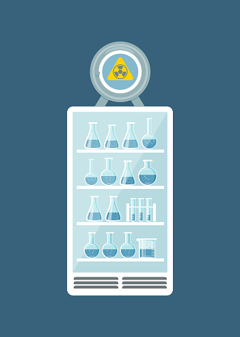 Glassware, jars, flasks, tubes, complex installation systems in working cabinet
