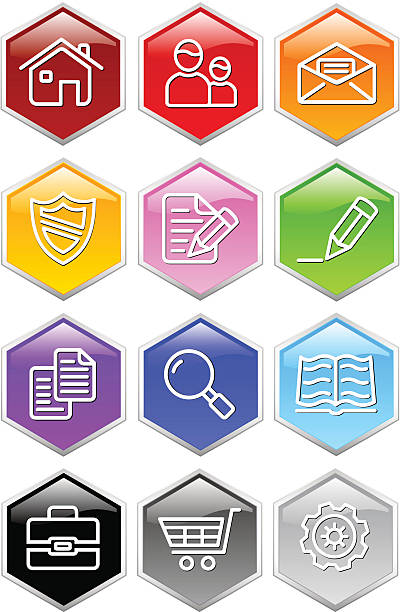 glassy hexagon web icons - byteandpixel stock illustrations