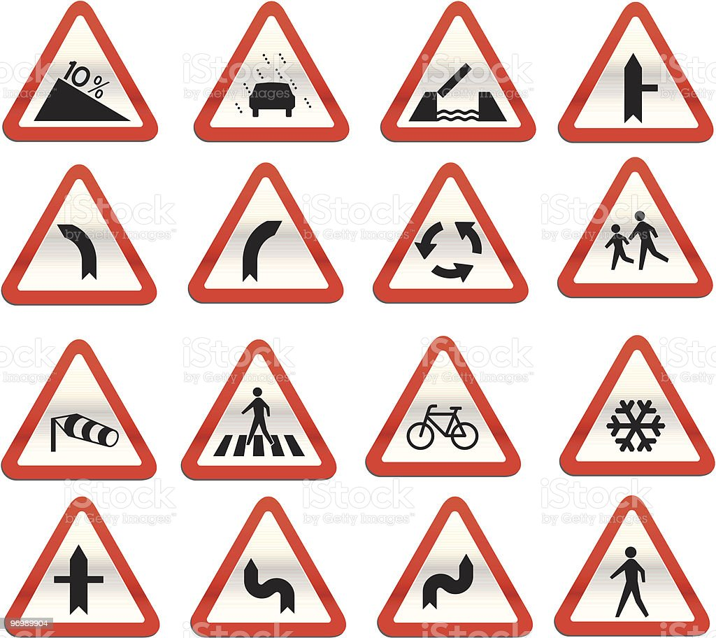 glassy warning road signs vector royalty-free glassy warning road signs vector stock vector art & more images of airplane