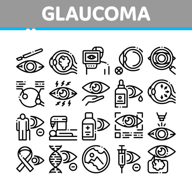Glaucoma Ophthalmology Collection Icons Set Vector vector art illustration