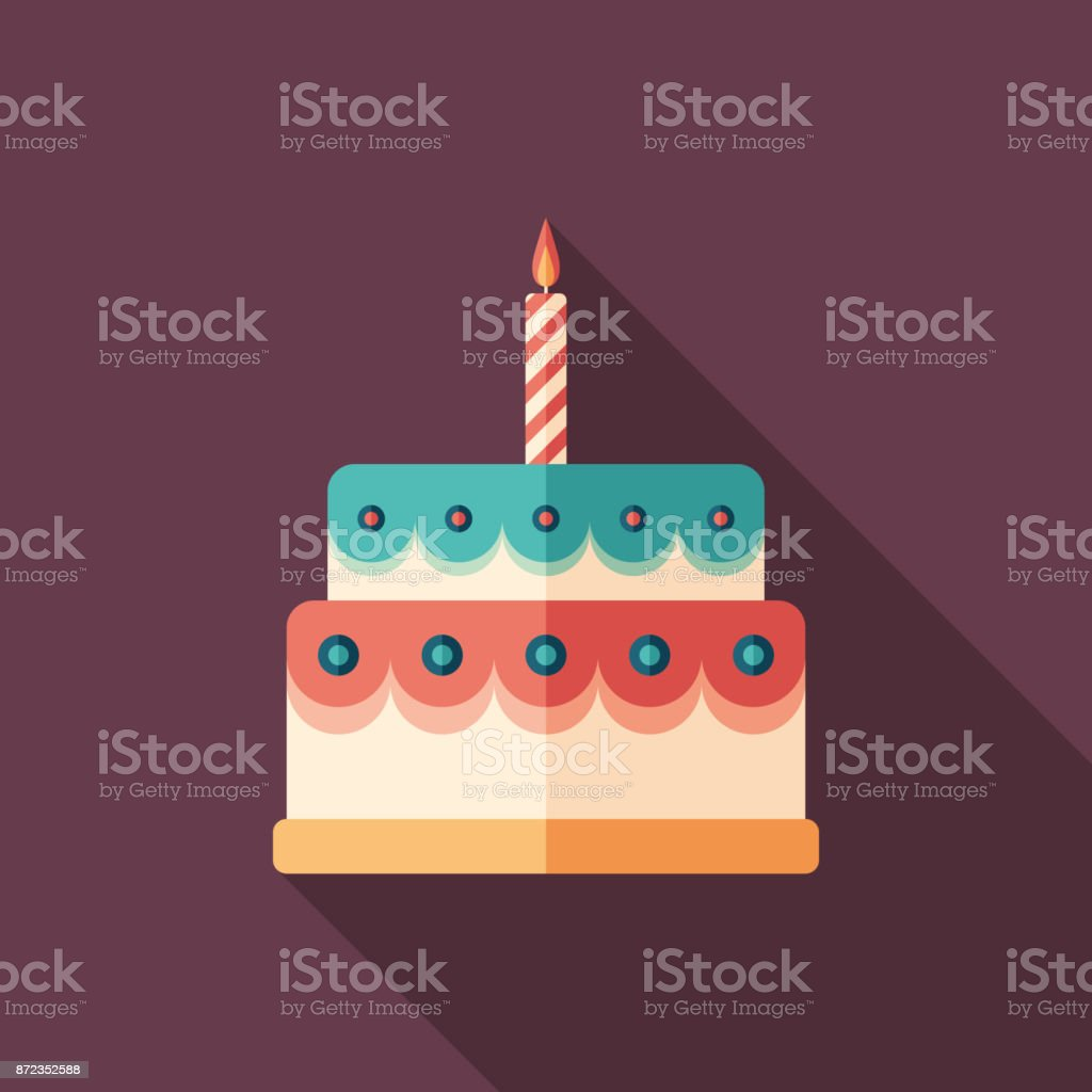 Glazed birthday cake flat square icon with long shadows.