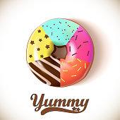 Glazed colored donut 3D. Vector Illustration