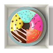 Glazed colored donut in the box 3D. Vector Illustration