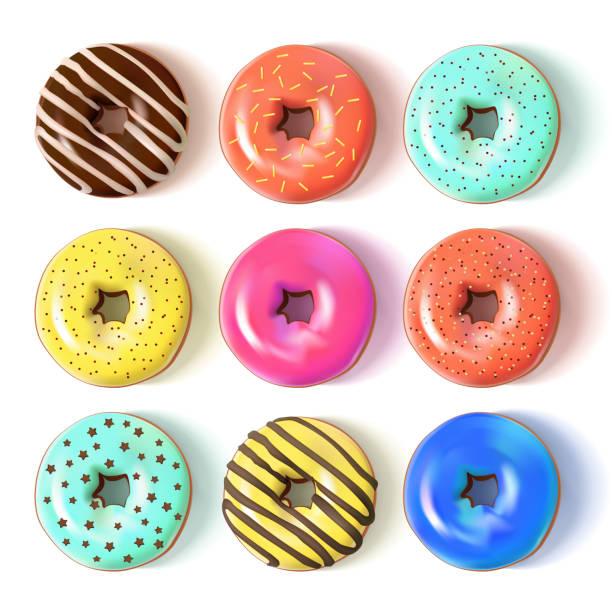 glasierte farbige donuts set 3d. vektor-illustration - vanillesauce stock-grafiken, -clipart, -cartoons und -symbole